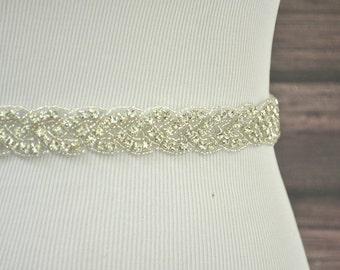 AUDREY Beaded Wedding Belt, Rhinestone Wedding Sash, Bridal Belt, Bridal Sash, Crystal Jeweled Belt, Crystal Rhinestone Sash, Dress Belt