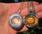Gift for Her SUN MOON colorful glass dome cabochon on Forget-Me-Not Silver LOCKET or just pendant w. chain Choice of 2 patterns