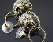 Gift for Her August Zodiac Sign Gorgeous LION head door knocker brass post stud earrings