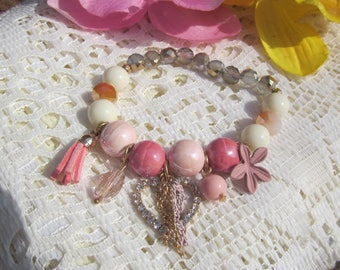 CRYSTAL HEART charms extensible BRACELET w. ceramic, smoky crystal bead in Pink color