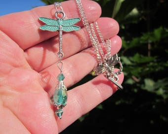 Sale! VERDIGRIS handpainted DRAGONFLY pendant & chain w. AB Emerald tear drop Crystals