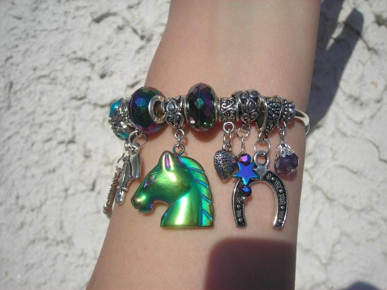 Horse Lovers western cowboy charms beaded cuff BRACELET HORSE rainbow hematite European Silver P