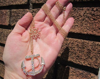 SUMMER Sale! Aurora Borealis CRYSTAL marine ANCHOR pendant w. 2 strands gold plated chain!