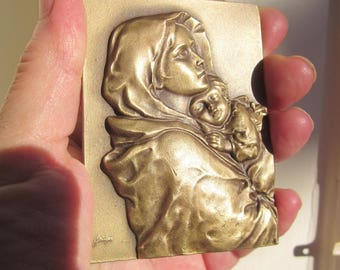 The MADONNA of The Streets by R. Ferruzzi Virgin Mary collectible engraved Bronze plaque by Baltazar: rare!