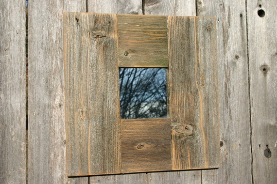 Rustic Natural Wood Accent Mirror Handcrafted Reclaimed Wood Framed Mirror Distressed Wood Wall Decor Mirror