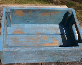 Handmade Reclaimed Wood Crate.  Distressed Barnwood Crate. Wood StorageBox.