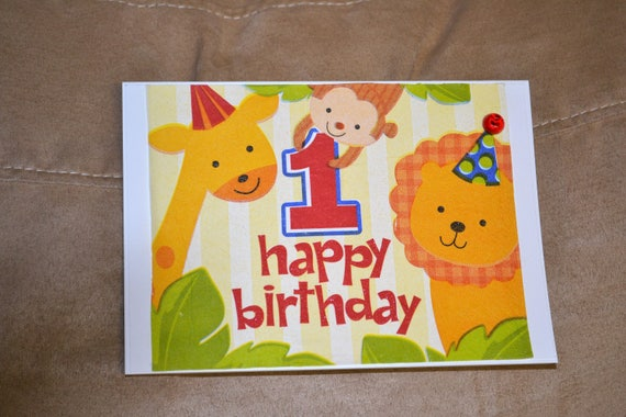 Happy First Birthday Card Greeting Card Hand Made Card Etsy