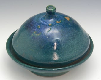 Small Handmade  Butter Dish with Cover, ceramic butter dish  turquoise and green color, handmade Elena Madureri.