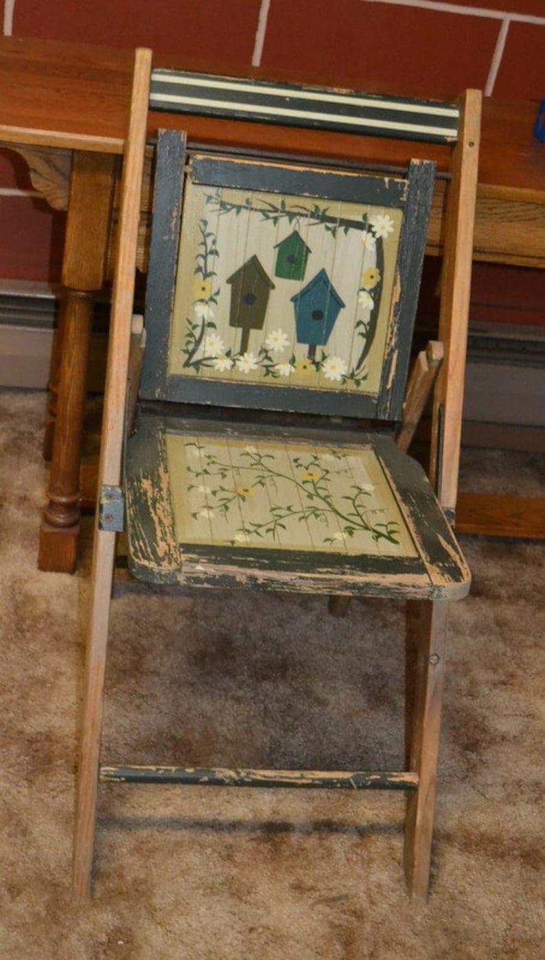 Folk Art Chair Wooden Folding Chair Rustic Wood Chair Wooden Chair Antique Wooden Chairs Folding Chair
