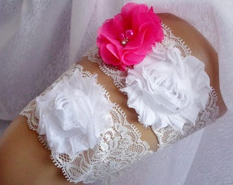Pink and White Flower Garter Set