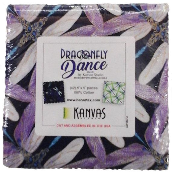 Dragonfly Dance-Purple by Kanvas Studio; 42 10-inch Squares Benartex