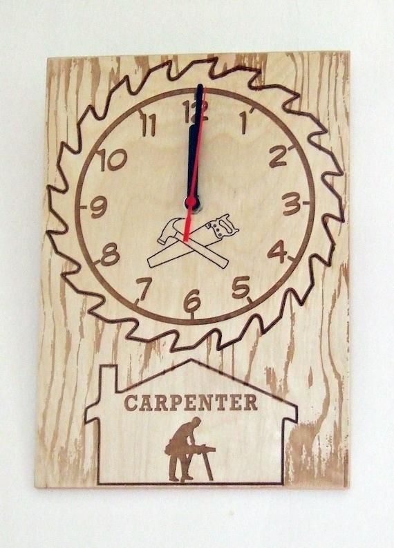 Handmade Wooden Clock Laser Engraved Carpenter Diy Wall Art