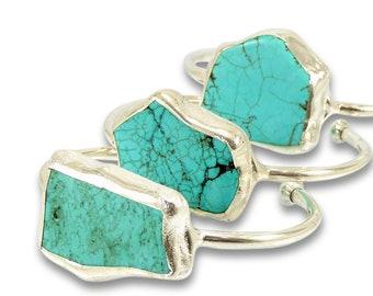 Turquoise Bracelet, Silver Cuff, December Birthstone, Gemstone Bracelet, Turquoise Cuff Bracelet, Turquoise,Crystal Jewelry, Stone Bracelet.