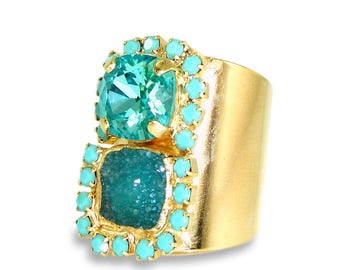Gold Druzy Ring, Turquoise Ring, Gemstones Ring,Turquoise Statement Druzy Ring, Pave Ring, Bridesmaides Gift, Druzy Jewelry By Inbal Mishan