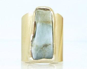 Aquamarine, Aquamarine Ring, March Birthstone, Raw Aquamarine Ring, Statement, Cocktail Ring,Statement Ring, Raw Crystal Ring,Jewelry Gifts.