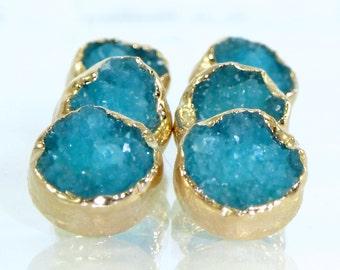 Stud Earrings, Raw Druzy, Raw Agate, Blue Druzy Stud Earrings, Blue Druzy Post Earrings, Gold Earrings, Raw Stud Earrings, Druzy Jewelry