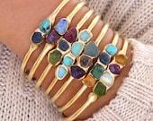Birthstone Bracelet, Personalized Birthstone Bracelet, Raw Birthstone Cuff Bracelet, Personalized Gift, Raw Stone Jewelry, Crystal Bracelet.