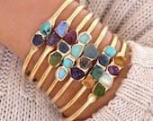 Personalized Bracelet, Gemstone Bracelet, Birthstone Bracelet, Raw Stone Bracelet, Gold Cuff Bracelet, Personalized Jewelry, Gemstone Cuff.