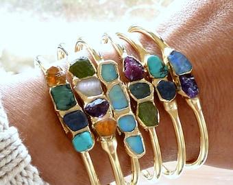 Raw Gemstone Jewelry, Custom Birthstone Bracelet, Mothers Custom Bracelet, Family Bracelet, Personalized Birthstone Jewelry, Custom Gift.