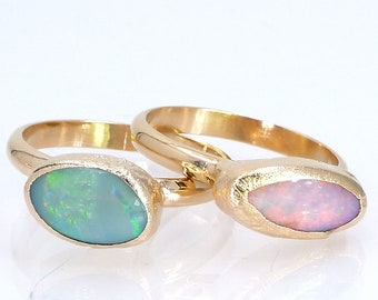 Opal Ring, Raw Opal Ring, Gold Ring, Opal, Stacking Ring, Stone ring, Raw Stone Ring, Gemstone Ring, Stackable Ring, October Birthstone.