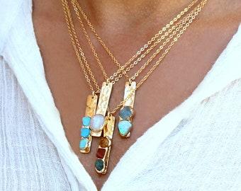 Mom Birthstone Necklace, Custom Necklace For Mom, Custom Birthstone Necklace, Mom Gift, Custom Jewelry, Gold Bar Necklace,Gemstone Necklace.