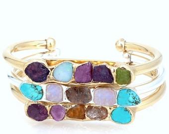 Mothers Birthstone Bracelet, Custom Gift for Mom, Personalized Birthstone Jewelry, Raw Stone Bracelet, Family Bracelet,Raw Crystal Bracelet.