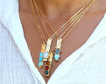 Custom Necklace For Mom, Custom Birthstone Necklace, Vertical Bar Necklace, Family Birthstone Necklace, Raw Stone, Personalized Necklace.