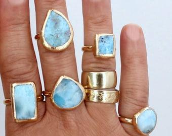 Larimar Engagement Ring, Raw Crystal, Alternative Engagement Ring, Larimar Ring, Larimar Wedding Ring, Larimar Ring, Raw Stone Ring,For Her.