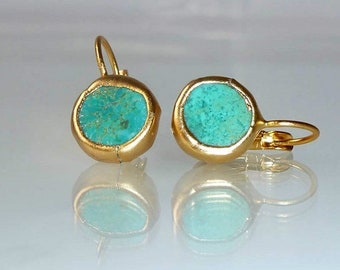 Turquoise earrings, Unique Gift, Gift For Women, simple everyday, ocean jewelry,framed stone, Gold post fashion earrings.
