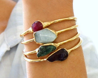 Gemstone Bracelet, Turquoise Cuff Bracelet, turquoise, Raw Turquoise, Turquoise Bracelet,Gold Cuff Bracelet, Turquoise Jewelry,Gemstone Cuff