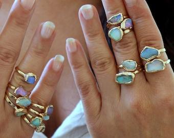 Raw Stone Ring, Turquoise, Raw Garnet, Pearl Ring, Birthstone Jewelry, Raw Crystal Ring, Crystal, Gemstone Ring,Gold Ring, Raw Gemstone Ring