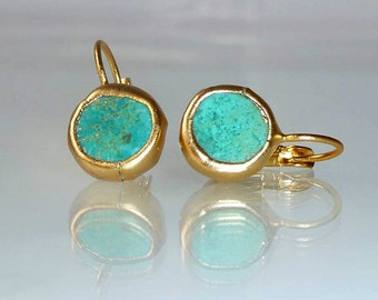 Turquoise earrings, Gift, Gift For Women, simple everyday, ocean jewelry,framed stone, Gold post fashion earrings.