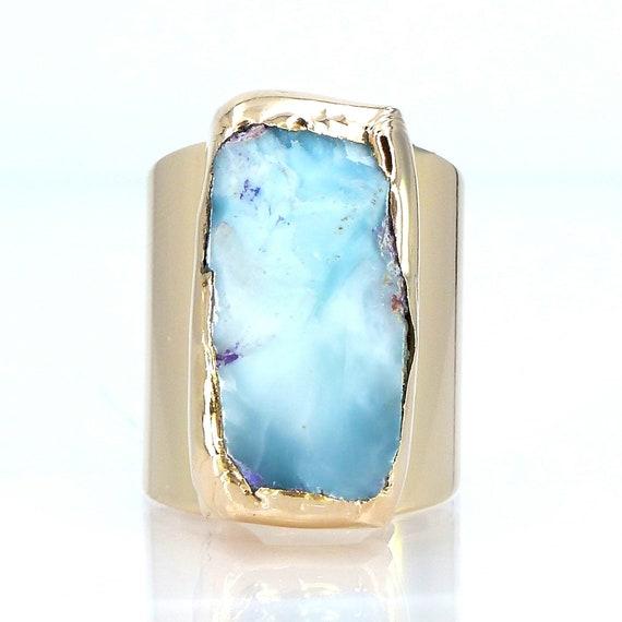 Handmade Ring Casual Ring Boho Ring 18k Gold Plated Brass Ring Larimar Stacking Ring Promise Ring Raw Larimar Ring For Her,