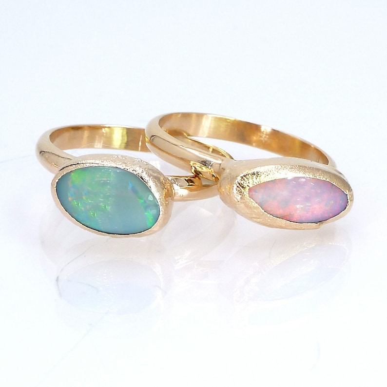 Opal Ring Raw Opal Ring Gold Ring Opal Stacking Ring image 0