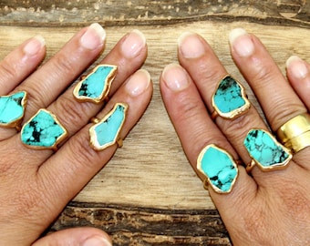 Raw Stone Ring, Turquoise,Stackable ring, Handmade, Gold, Raw Turquoise Ring, Stacking Ring, Turquoise Ring, Turquoise Jewelry,Boho Ring.