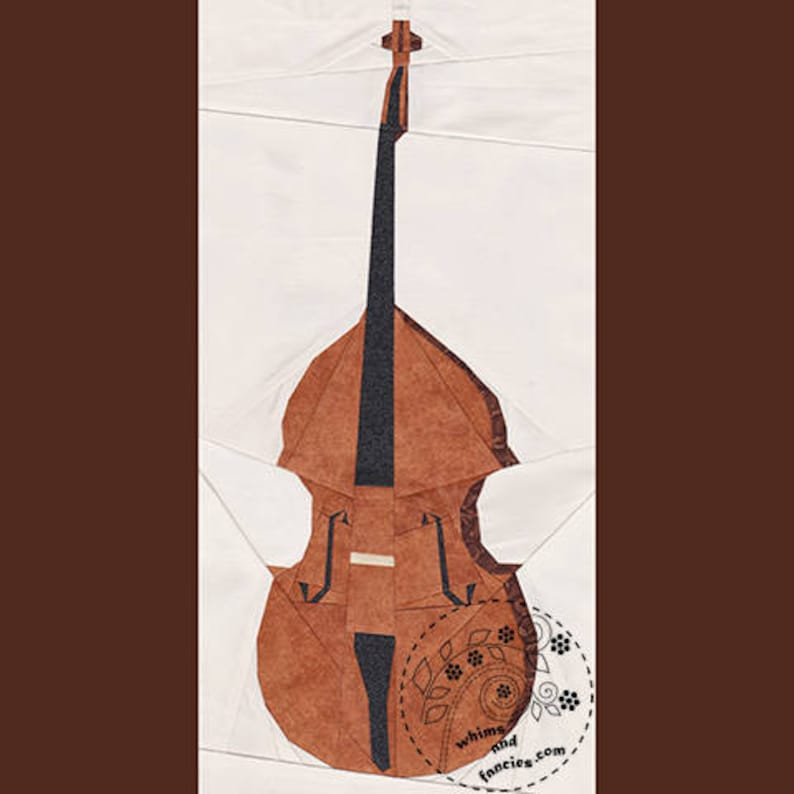 Double Bass  Paper Piecing music instrument quilt pattern image 0
