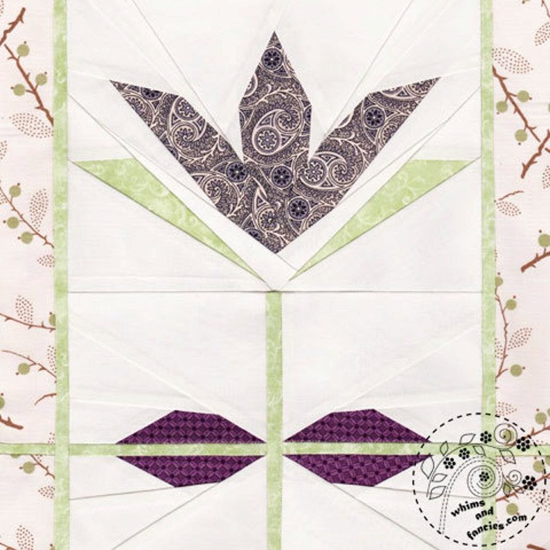 Olivine Tulip  Paper Piecing stained glass flower quilt image 0