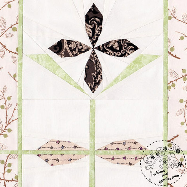 Selenite Clematis  Paper Piecing stained glass flower quilt image 0