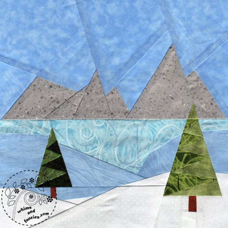 Winter Meadow  Paper Piecing winter landscape quilt pattern image 0