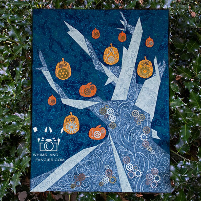 Halloween Witch Tree  Paper Piecing quilt pattern autumn image 0