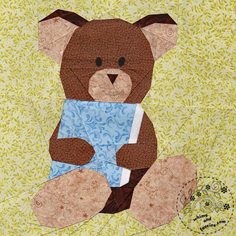 Story Book Teddy Bear  Paper Piecing quilt pattern read image 0