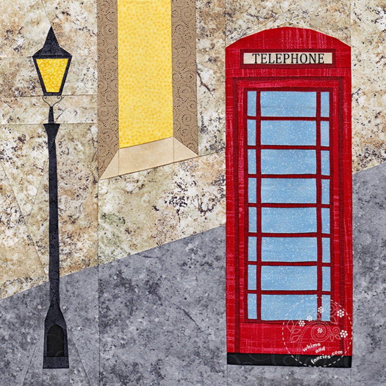 Red Telephone Box  Paper Piecing quilt pattern Britain image 0
