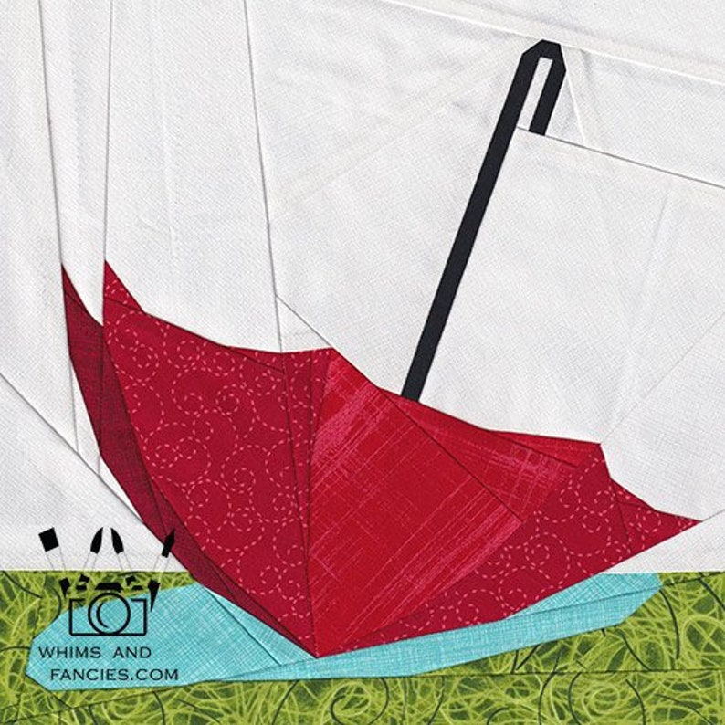 April Showers  Paper Piecing umbrella quilt pattern garden image 0