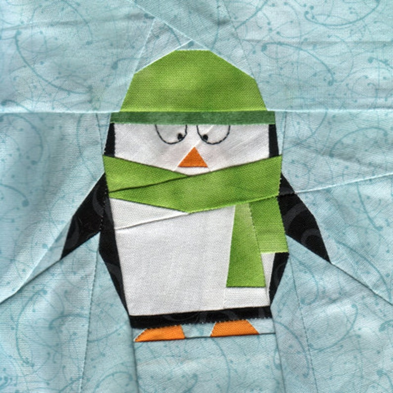 Little Penguin Polaris  Paper Piecing penguin quilt pattern image 0
