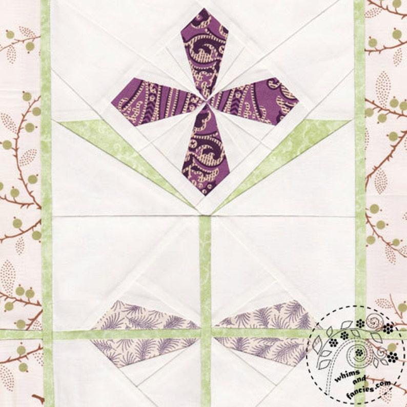 Garnet Primrose Flower  Paper Piecing stained glass flower image 0