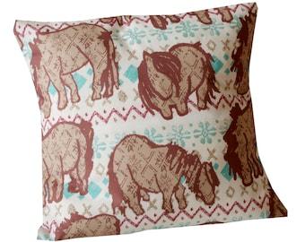 Handmade Envelope cushion - Fair Isle Shetland Ponies