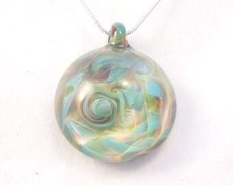 TURQUESA Bohemian Style Dome aqua blue wearable art heady borosilicate lampwork blown glass pendant on sterling silver or satin necklace