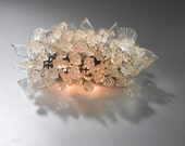 Wall light fixture - sconce up and down light, Transparent flowers and leaves over a mirror