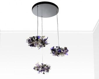 Plafoniera Fiori : Lampade a sospensione con foglie e fiori di colore caldo. etsy