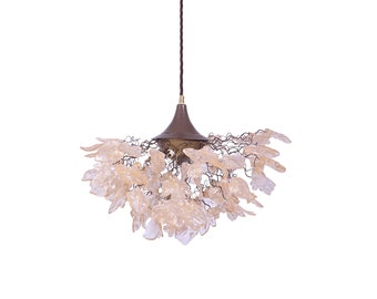 Large Hanging oval chandeliers with blue and green flowers and leaves for Dining Room, or living room